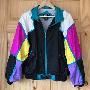 🎈Vintage 90's colorblock windbreaker Jacket Sz L